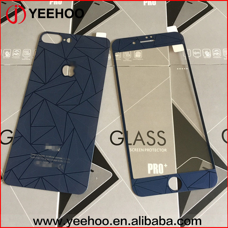 Colorful diamond pattern tempered glass for iphone 7 plus,Fashion Front + Back Tempered Glass Screen Protector For iphone 7