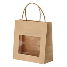 flat bottom kraft paper shopping bag with window