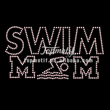 Wholesale 2017 swim mom bling hotfix rhinestone motif