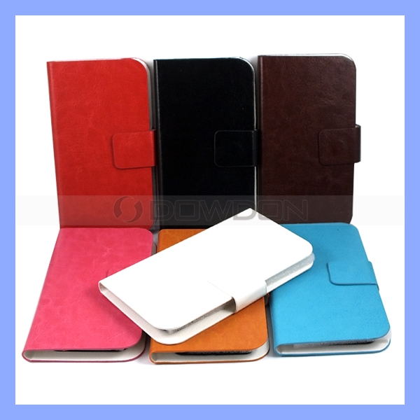 Universal Sucker Flip Leather Case Cover for iPhone Samsung Mobile Phones