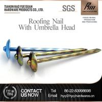 New design umbrella head roofing nails with rubber washer umbrella head roofing nail for asphalt shingles