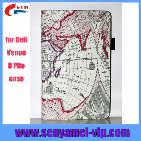 map patterned for Dell Venue 8 Pro cover case with stand function