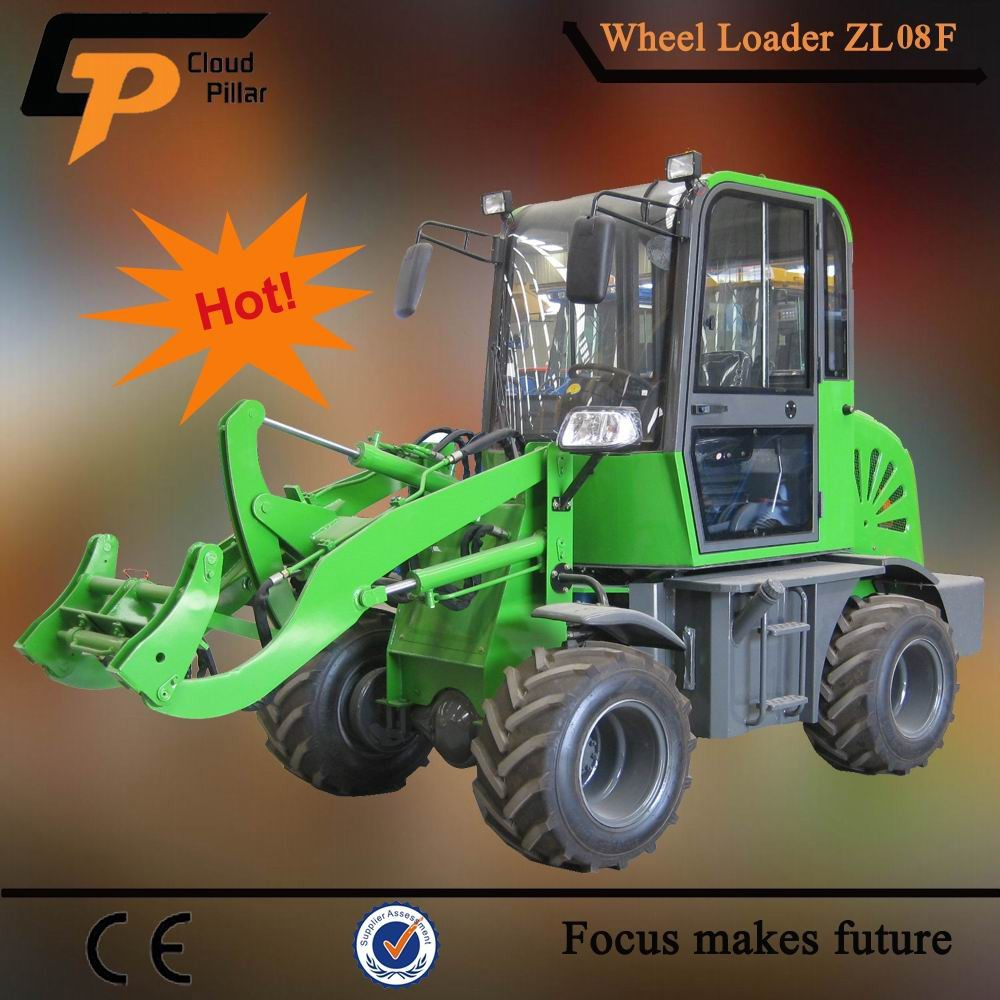 zl08f Chinese Wheel Loader with Log Grapple/Grass forks/Snow Blades Attachments