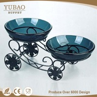 Oriental Custom Decorative Plates, Fifth Wheel Plate, Glass Bowl with Wheel Satnd