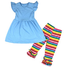 Bulk wholesale kids cotton clothes baby girl boutique ruffle outfits summer icing ruffle outfits for kids