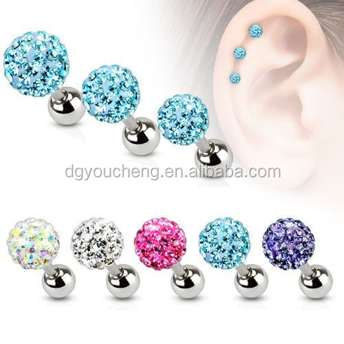 Stainless Steel Ferido Crystal Tragus Earrings Helix Cartilage Stud