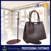 Custom garment store floor standing handbag display stands elliptical bottom metal display stands