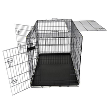 black Portable folding Dog Cage pet cage with three Doors and plastic Tray