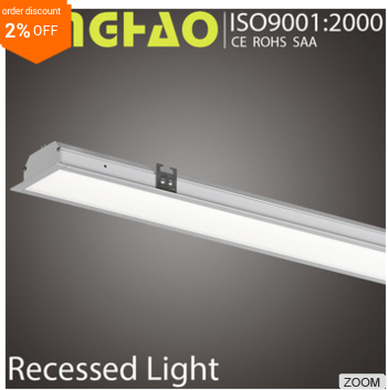Warm white CE super light silver office hotel supermarket applied led linear lamp recessed celling light