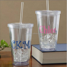 Fashion product double layer plastic bottle can Insert paper PVC in middle staw plastic mug