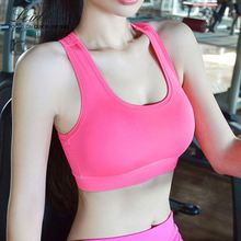 Fashion women running top yoga bra push up seamless plain sport bra