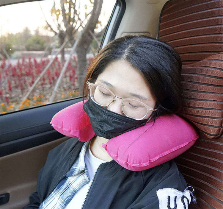 PVC inflatable U pillow camping pillow inflatable
