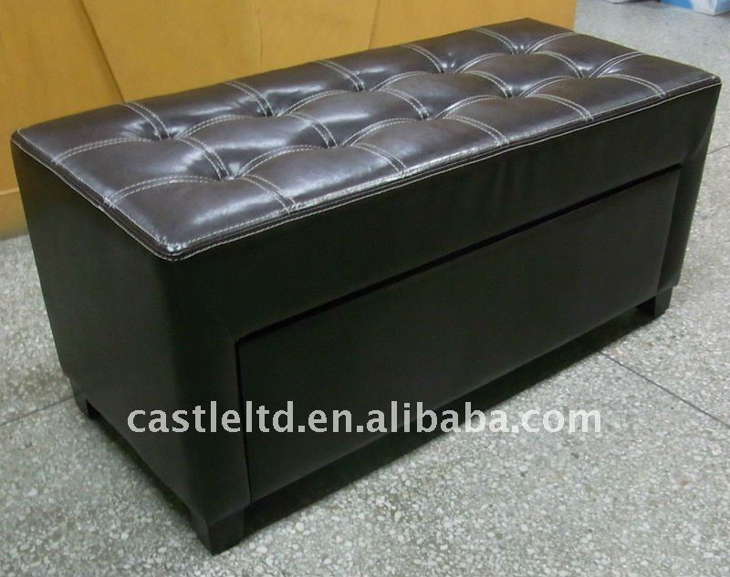 Black Synthetic Leather Storage bench,wooden frame indoor storage ottoman