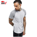 longline muscle t shirt with curved hem and contast raglan side zips