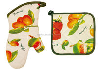 2015 HIGH QUALITY NEW DESIGN PRINTING FRUITS AND VEGETABLES COTTON (OVEN MITT& POT HOLDER) KITCHEN SET MK-2702B&2706B
