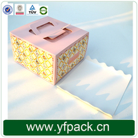 Food Grade Popular Printed Logo Custom Paper Cake Box With Handle And Insert