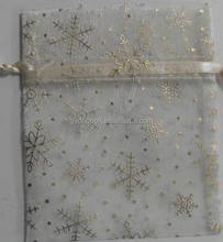 2016 Xmas/party/festive/jewelry/ gifts/candy packaging bags with glitter snowflake printed fabric present pouch