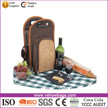 Travel Insulated Wine Carrier Tote Cooler Bag with Carrying Strap