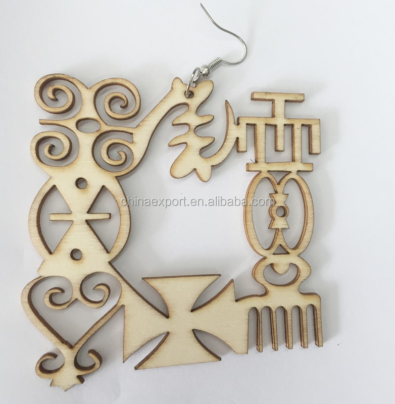 8CM Natural Color Afro Unfinished Laser Cut african wood earring WJ010