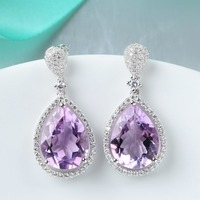 925 sterling silver crystal clear amethyst jewelry set gemstone silver jewelry