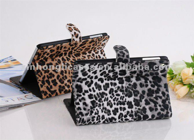 filp cover stand cover Leopard Printing covers for Ipad mini