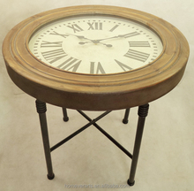 Round solid wood coffee table with clock