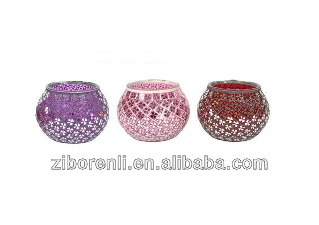 Four Leaf Clover Pattern Mosaic Christmas Ball Votive Candle Holder