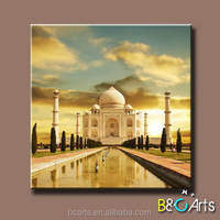 High quality world famous architecture digital printing canvas roll, pure cotton canvas prints of Taj Mahal