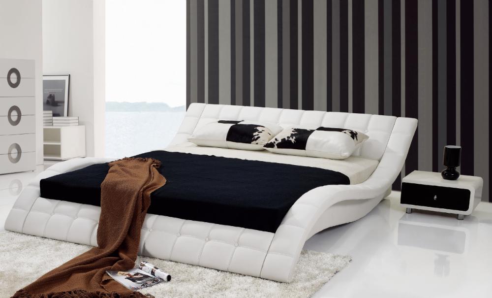 2015 hot sale modern elegant genuine leather bed design