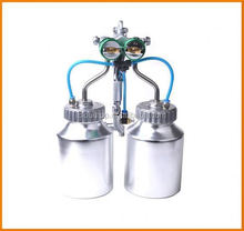 Ningbo 2015 hot on sales air adjusting valve with gauge chrome paint double nozzle gun
