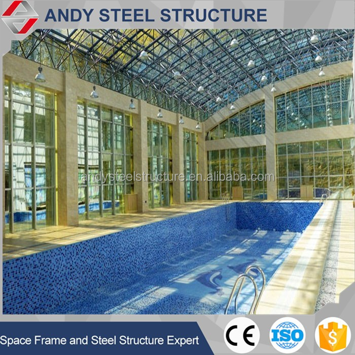 The swimming pool construction with steel space frame