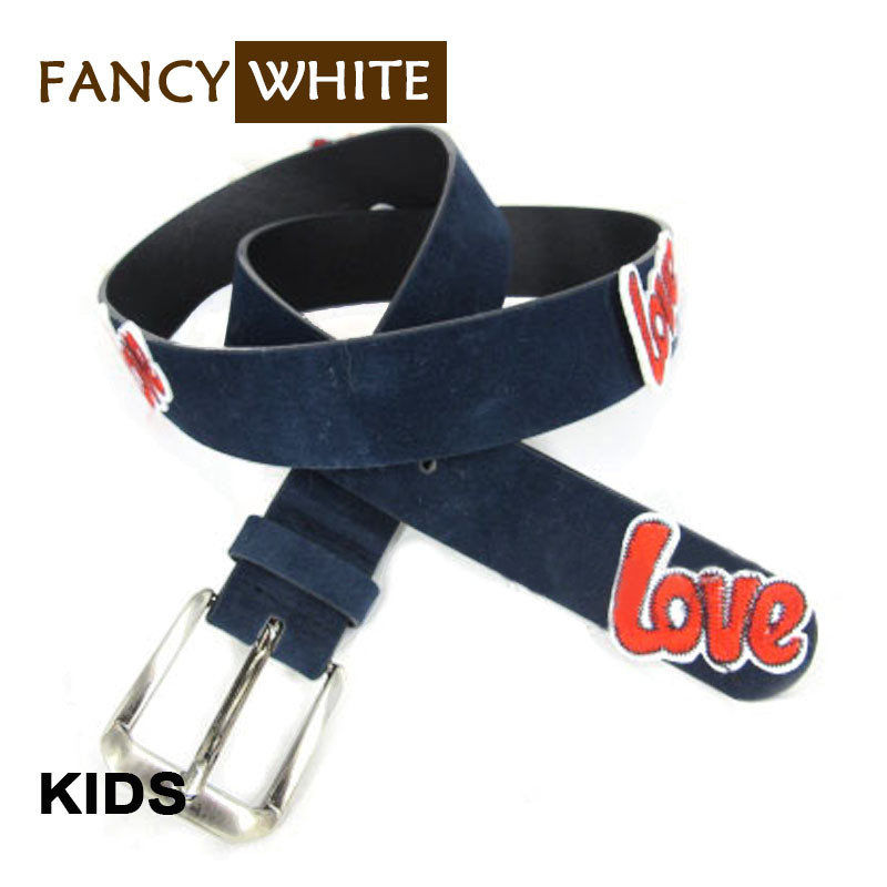 Fashion pin alloy buckle customized patches embroidery pu funny child belt