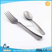 Charming design ecofriendly PS plastic silver spoon and fork with lines