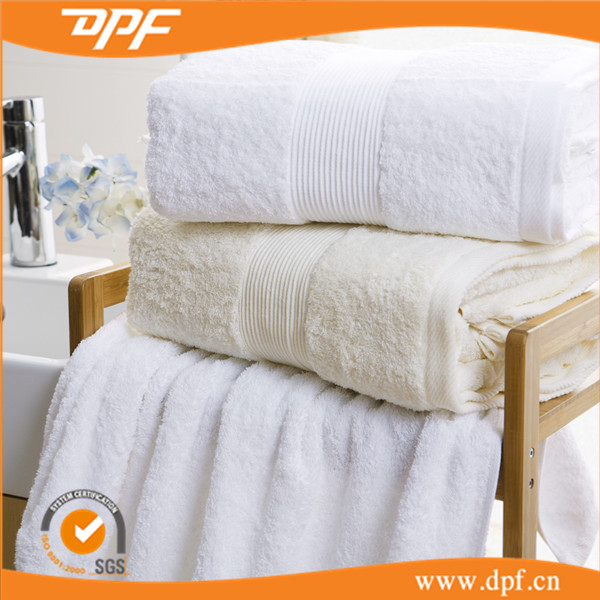 Adult Stripe Satin Band Cotton Bath <strong>Towel</strong> For Star Hotel