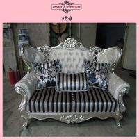 853#Living room blue stripes Carved classic sofa