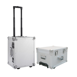 Aluminum tool trolley box with wheels fashion craft tool storage case