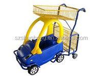 Metal Kid's Supermarket Shopping Cart with Plastic Toy Cart