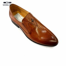 Italy fashion style custom hand made men leather brown loafer shoes