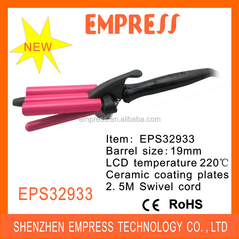 16/19/22/25mm Digital professional hair triple tong Hot Tools Professional Marcel Curling Iron EPS3183