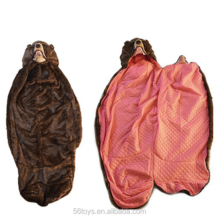 Funny bear sleeping bag animal shaped sleeping bag