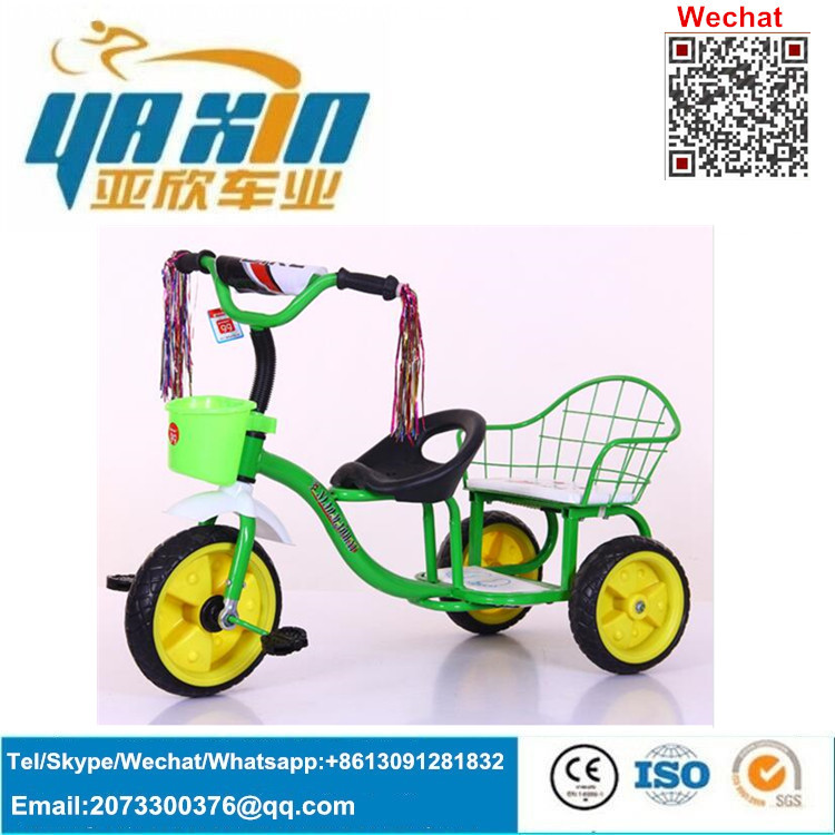 Best quality 3 wheels bicycle with basket for children / cheap price baby twins tricycle / double seat kids trike for sale