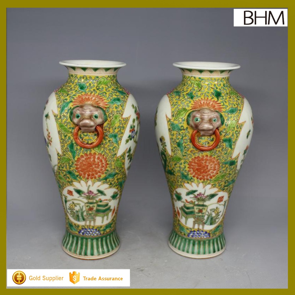 Qing Dynasty famille rose antique ceramic vase made in china
