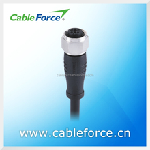 M12 Connector 5Pin A-Conding Female Molded Connector with PUR Cable Stainless Steel Screw