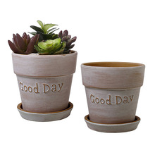 Terracotta Herb Pot with Removable Saucer Earthenware Flower Pot