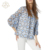 Top Grade Fashionable O Neck Sky Blue Lace Hollow Out Long Sleeves Blouse For Women