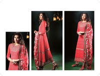 Lawn Cotton Long Salwar Suit Red Colour