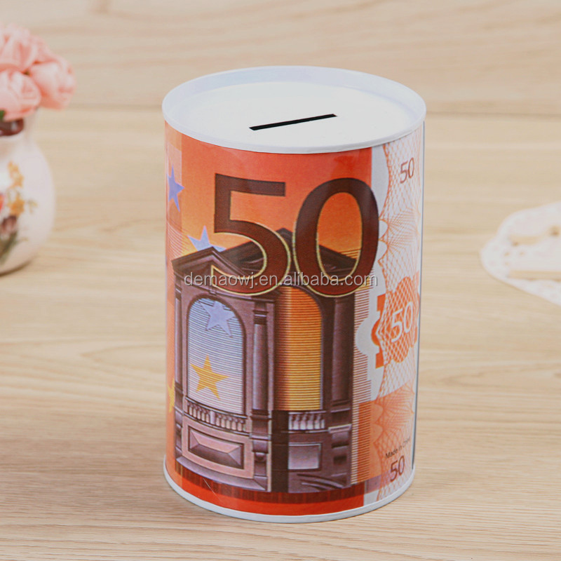 China factory OEM accepted EU currency design printing smart unopenable metal tin money donation box