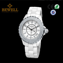 hot sales women ceramic watch with 100pcs diamond fashion vogue ladies watches