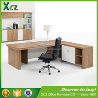 Movable cabinet l shape executive wooden office furniture table designs office table