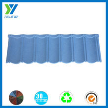Sand coated classic sky blue color stone coated roof tile